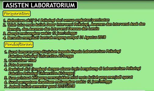 Open Recruitment 1.5 Asisten Laboratorium Psikologi